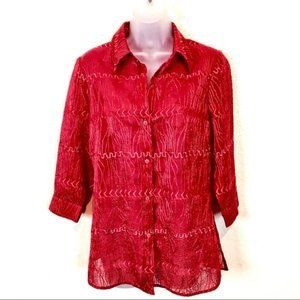 Red on Red Embroidered Classic Vintage Blouse S